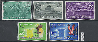 XG-AL821 TRINIDAD & TOBAGO IND - Independence, 1962 Birds Fish, 5 Values MNH Set