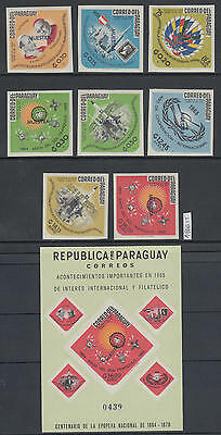 XG-AL961 PARAGUAY - Space, 1966 Quiet Sun Year Muestra Imperf. Sheet And MNH Set