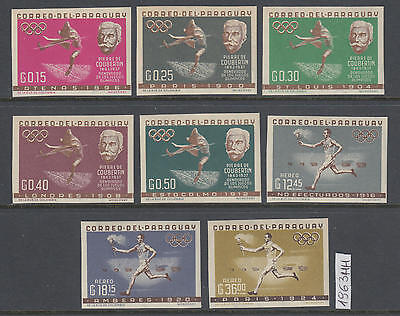 XG-AL995 PARAGUAY - Olympic Games, 1963 History, 8 Values Imperf. MNH Set