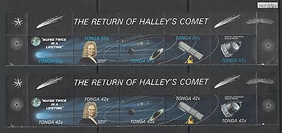 XG-AL942 TONGA IND - Halley'S Comet, 1986 2 Strips With Margins MNH