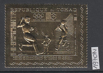 XG-AL959 CHAD IND - Football, 1970 Gold Foil, Mexico, World Cup MNH Set