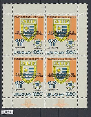 XG-AL908 URUGUAY - Football, 1978 Overprinted, Block Of 4 W/ Margins MNH Set
