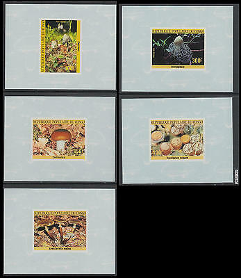 XG-AL507 CONGO BRAZZAVILLE - Mushrooms, 1985 Nature, 5 Deluxe Proof Imperf. MNH