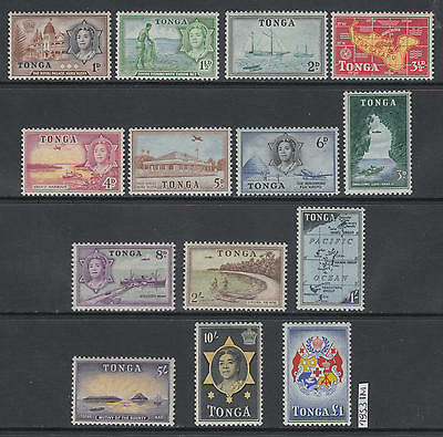 XG-AL724 TONGA IND - Definitives, 1953 Ships, Maps, 14 Values MNH Set