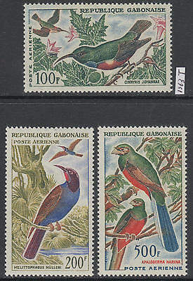 XG-AL416 GABON - Birds, 1963 Trees, Nature, Fauna MNH Set