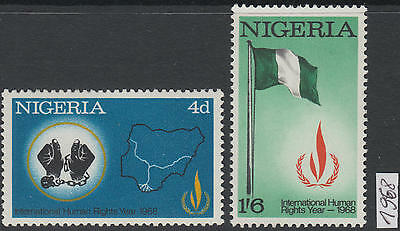 XG-AL010 NIGERIA IND - Human Rights, 1968 Intl. Year, 2 Values MNH Set