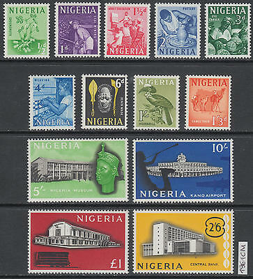 XG-AL027 NIGERIA IND - Definitives, 1961 Architecture, Birds, 13 Values MNH Set