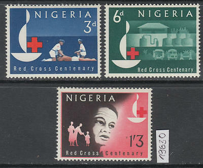 XG-AL029 NIGERIA IND - Red Cross, 1963 Centenary, 3 Values MNH Set