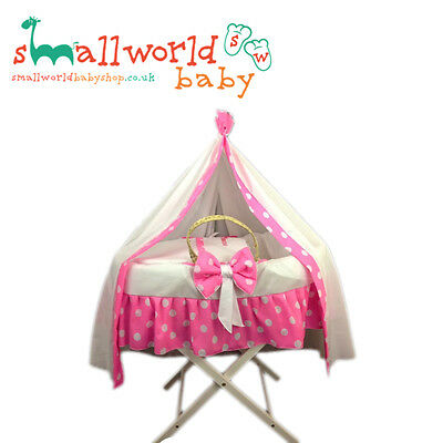 Personalised Pink Polka Dot Moses Basket Cover Set With Drape