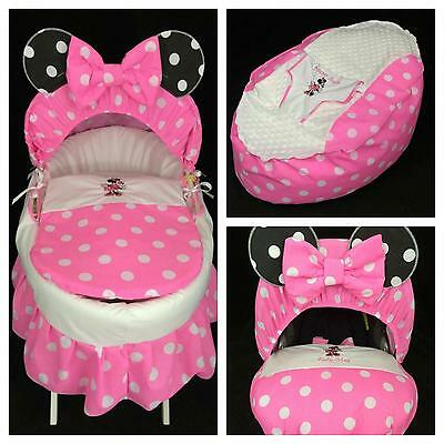 Personalised Minnie Mouse Moses Basket Cover, Bean Bag & Car Seat Cover Package