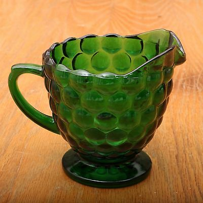 Vintage Anchor Hocking Forest Green Bubble Glass Cream Pitcher