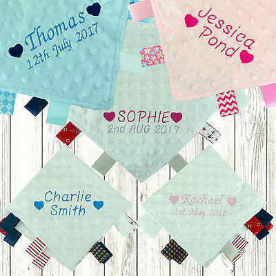 Personalised Baby Taggy Taggie Blanket Comforter Boy Girl Gift Tag Soft Hearts.