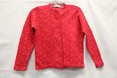 Jaquard Kitten Wool Cardigan Sweater Vintage 1950s Pink Excellent Button  Womens