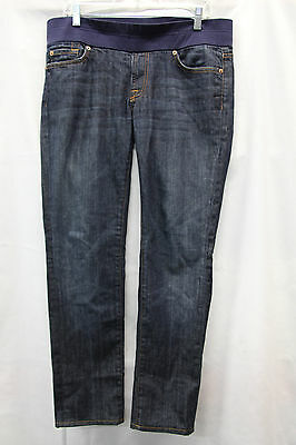 7 For All Mankind Women's Maternity DARK Jeans Size 31 EXCELLENT USed Cond 2530