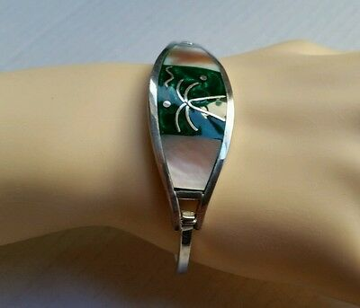 """Silver tone Mother of Pearl Inlay Green Enamel Hinged Bangle Bracelet 6.5"""""""