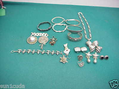 Sterling 925 preowned  lot Jewelry rings bracelet Cat turtle pin