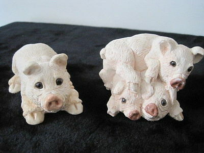 2 Stone Critters Pig Figurines. Glass Eyes. L.miller 1984. Udc