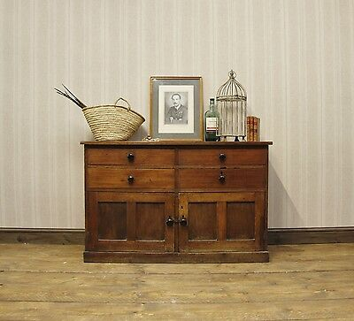 Rustic Antique Low kitchen Sideboard, Camphor School Style Cupboard with Drawers