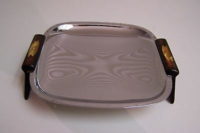 """Vintage GLO-HILL 7"""" Square Tray, Reddish Brown Handles with Butterscotch Insets"""