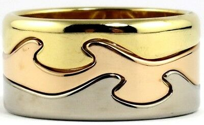18ct Yellow, White And Rose Gold Fusion Ring By Georg Jensen - Size Y