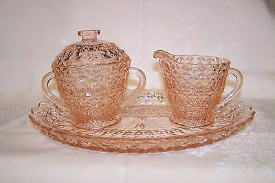 Vintage HOLIDAY BUTTONS AND BOWS Jeannette Glass 4 Piece Cream & Sugar Set