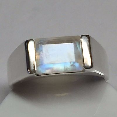 Natural Emerald Cut Rainbow Moonstone 925 Solid Sterling Silver Men's Ring 10