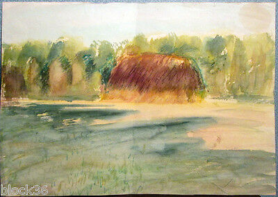 LANDSCAPE WITH HAY BALE drawing by Russian artist A.M.Gromov