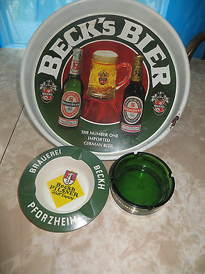 VINTAGE Beck's beer Tray Germany's #1 Import+1 Glass and 1 Plastic Beckh Ashtray