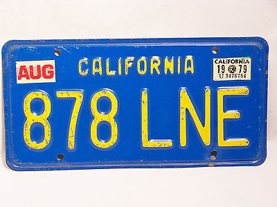 The FAMOUS 1979 Yellow on Blue California License Plate... NICE SHAPE!