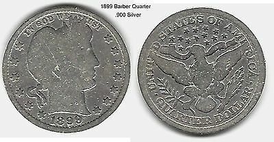 US 1899 Barber Quarter .900 Silver Coin ... Take A Look !!