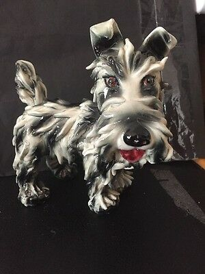 """Detailed Ceramic Schnauzer Dog Made In Italy--Very Detailed--""""AS iS!"""" 5"""" X 5 1/2"""