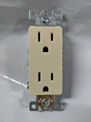 10 pc Decorator Duplex Receptacles 15 Amp IVORY 15A Decora Outlet Self Grounding