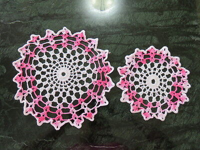 """Lot Of 2 Crochet Doilies - Pink - White -  10""""  And 7"""" Diameter"""