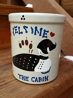 Vintage RRP Co. Roseville Ohio 2 Quart Crock Hand-Painted Norhwoods Welcome Loon