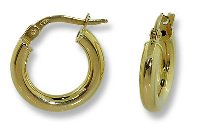 Classic Tubular Round Hoop Earrings 18k Yellow Gold 15mm