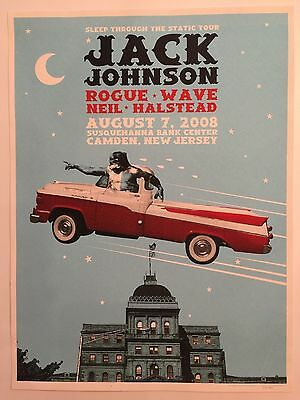 Jack Johnson Lithograph Poster 8/7/08 Susquehanna Bank Arts Center Camden NJ