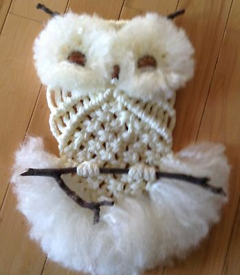 "Hand-Made   Off-White Macrame 15"" Owl -Braided Macrame Cord-   See More Owls"