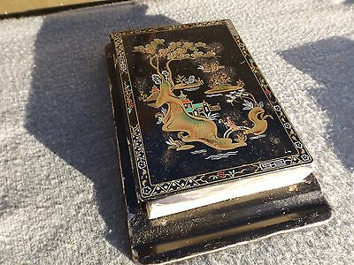 vintage old lacquer tin notepad holder japanese design tandra hosiery london