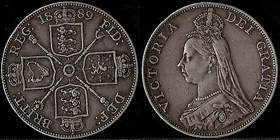 narkypoon's HIGH GRADE 1889 Victoria Jubilee Head STERLING SILVER Double Florin
