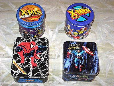 1991 1992 1993 Marvel 4 Tin Lot! X-Men Masterpieces Universe! Empty Tins! + Free