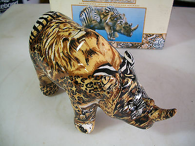 Endangered Species Patchwork Rhinoceros #3101, LaVie Safari Collection, NIB
