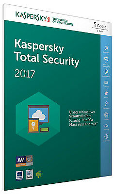 Kaspersky Total Security 2017 5 PC / Gerät 1Jahr Vollversion Key ESD Download