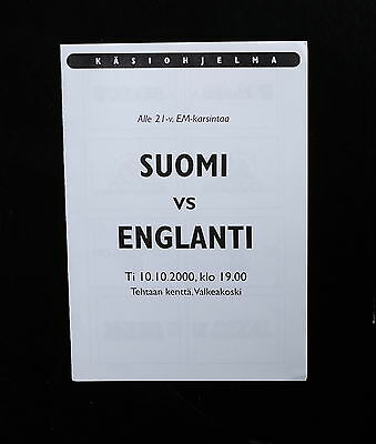 Finland Vs England 10th Oct 2000 Prog/teamsheet 4 page