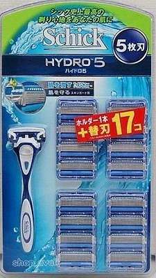 Schick Hydro 5 Holder + Blade 17pc for Shaver Japan free shipping