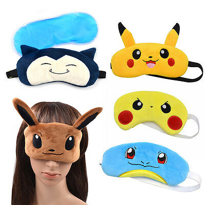 Pokemon Pikachu Angry Soft Sleep Ice Eye Mask Pocket Monster Squirtle Munchlax