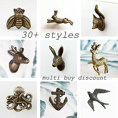 Vintage Metal Animal Ceramic Door Handle Drawer Knob Hare Fox Map Stag Moustache