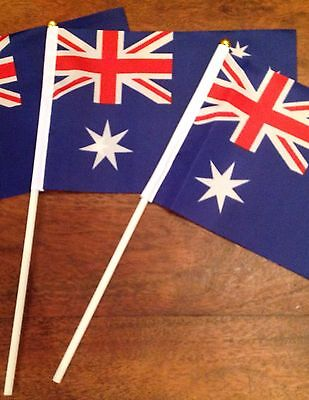 "2 Australian Australia Aussie Hand Waving Party Flags Display Sports 12"" Handle"