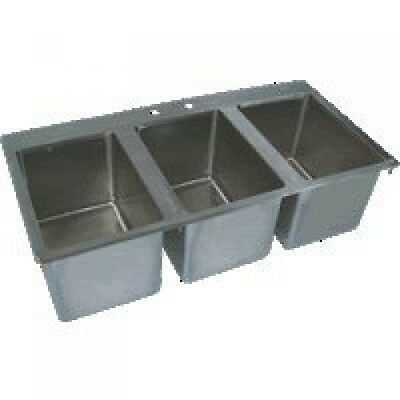 """BK Resources S/S 3 Compartment Drop In Sink 10""""x14""""x10"""" NSF BK-DIS-1014-3"""
