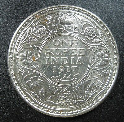 India British 1 Rupee 1917 Silver Gem Bu White #k Indian Colony Crown World Coin