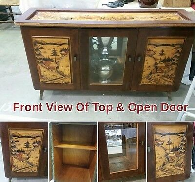 Black Forest Germany Vintage Antique German Hand Carved Furniture Credenza